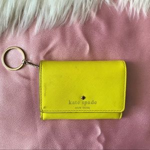 Cute yellow Kate Spade keychain wallet